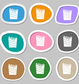 Fry icon symbols Multicolored paper stickers vector image