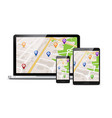 gps map mobile app background vector image vector image