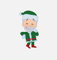 green santa claus with funny expression vector image vector image