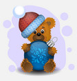 greeting card happy new year bear with a christmas vector image