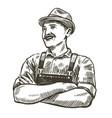 hand-drawn sketch happy farmer farming vector image vector image