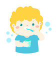 happy boy brushing teeth cartoon vector image vector image