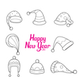 Hat With Outline Icons Set vector image vector image