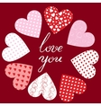 hearts and text Love You vector image vector image