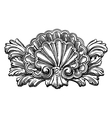 heraldry clam shell sketch calligraphic drawing vector image