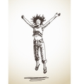 jumping young woman vector image vector image