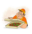 man and pizza in box vector image vector image
