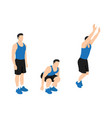 man doing frog jumps exercise flat