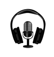Microphone and headphones vector image vector image
