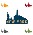 new york city skyline silhouette design template vector image