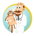 older male veterinarian holding cat vector image