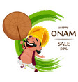 onam celebration king mahabali vector image vector image