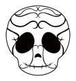 outline of a happy mexican skull cartoon vector image
