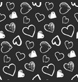 pattern with cute grunge monochrome hearts vector image vector image
