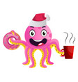 pink party octopus on white background vector image vector image