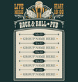 poster for rock and roll pub with live music vector image vector image