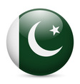 Round glossy icon of pakistan vector image vector image