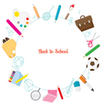 School Supplies Icons On Circle Frame vector image vector image