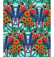 Seamless pattern with macaw parrots Hand drawn vector image vector image