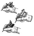 set hand with tattoo machine isolated on white vector image vector image