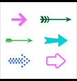 set of colored arrow icons 3d vector image vector image