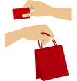 shopping hands vector image