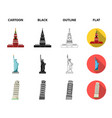 sights of different countries cartoonblack vector image vector image