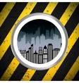 silhouette city urban building badge with stripes vector image