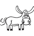 simple black and white donkey vector image vector image