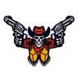 skull cowboy bandit aiming guns in e-sport vector image vector image