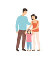 smiling cartoon family mother father and daughter vector image vector image