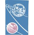 Soyuz Orbiting the Moon vector image vector image
