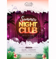 summer party poster design summer night club vector image