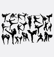 thai boxer and karate martial art silhouettes vector image