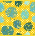 tile tropical pattern with exotic leaves on polka vector image