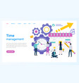 time management organizer and clock business vector image vector image