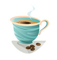 turquoise coffee cup with beans vector image vector image