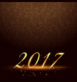 vintage background with golden 2017 text with vector image vector image