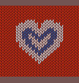 wool knitted pattern with white heart on re vector image vector image