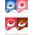 yogurt cream on spoon with blueberry raspberry vector image vector image