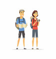 young couple on vacation - cartoon people vector image vector image