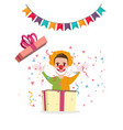 clown surprise from box present party cartoon vector image