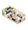 home interior isometric design concept vector image