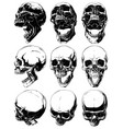realistic cool detailed graphic skulls set vector image