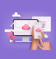 3d cloud computing upload and download data vector image