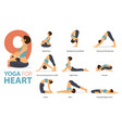 9 yoga poses for heart concept vector image vector image