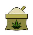 a bag hemp flour with a leaf marijuana vector image
