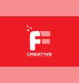 alphabet letter f red technology white logo vector image vector image