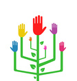 an Abstract Tree with Colorful Hands vector image