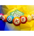 Bingo balls and cards over geometric background vector image vector image